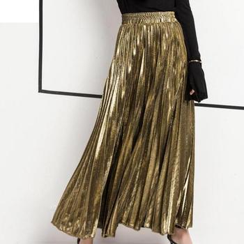 Laurel Metallic Long Pleated Skirt