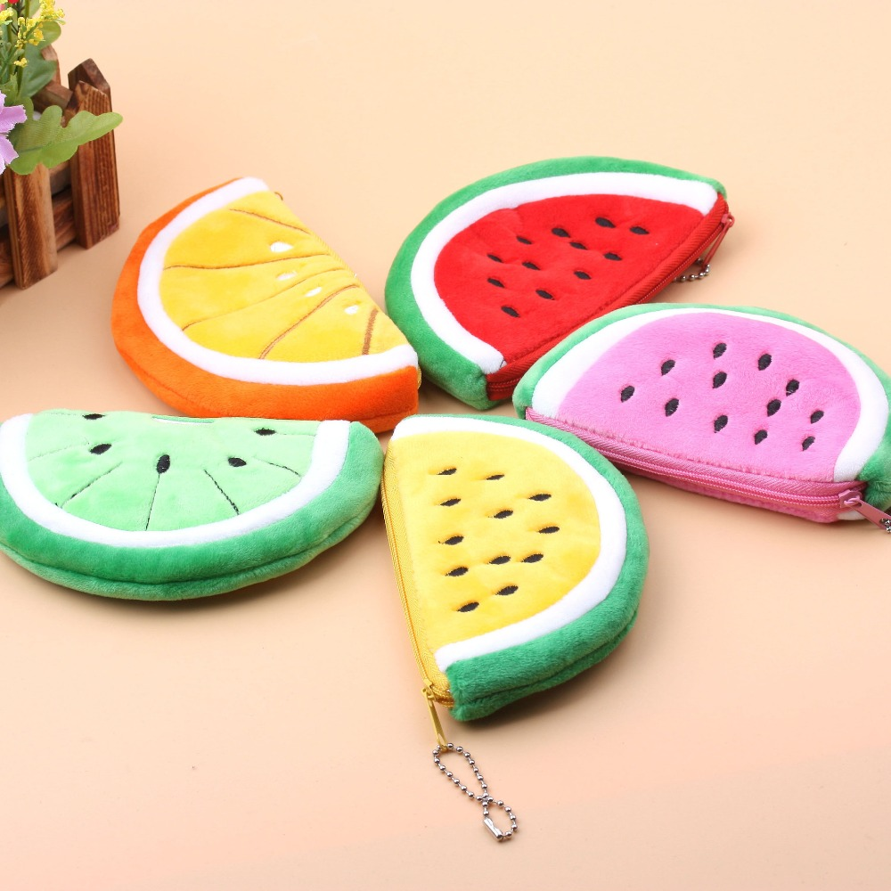 New Coin Purse For Girls Watermelon Small Coin Purse Wallet Plush Key Zipper Money Bag Pouch Change Purse For Children Kid Gift 2015 new arrival kids rabbit animal pattern wallet children baby purse women girl coin bag key pouch for birthday gift