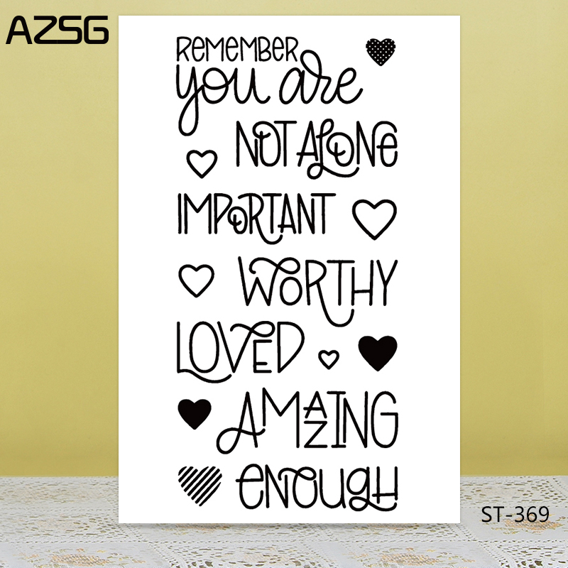 AZSG Important Love Word Heart Clear Stamps/Seals For DIY Scrapbooking/Card Making/Album Decorative Silicone Stamp Crafts