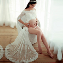 White Maternity Gown Lace long Dress Pregnant Photography Props Fancy Photo Shoot maternity lace dress