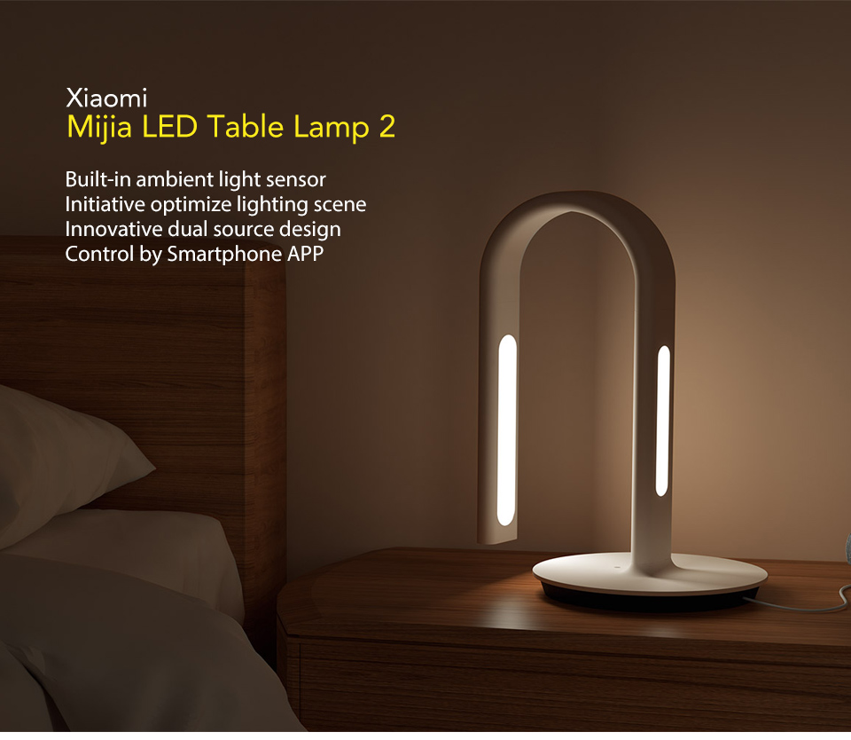 Original Xiaomi Mijia Lamp 2 Xiao Mi Eyecare App Control Dual Light Source Smart Desk Lamp Xiomi Mi Home Mi Store - White (1)