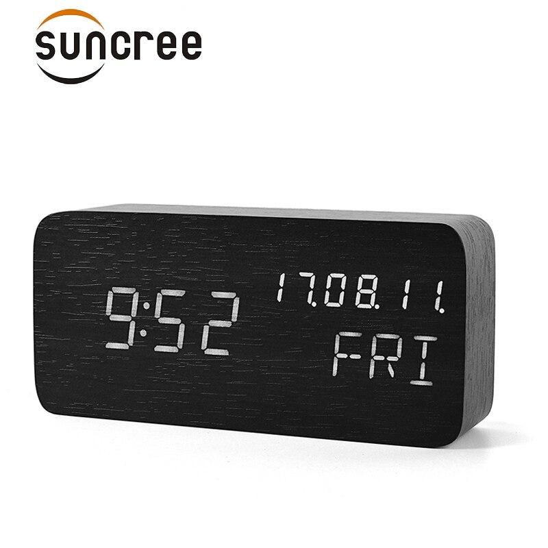 Suncree Holz FÜHRTE Halterung Uhr, Datum + Woche + Zeit Temperatur Sound Control Elektronische Digitale Tabelle Desktop Uhren