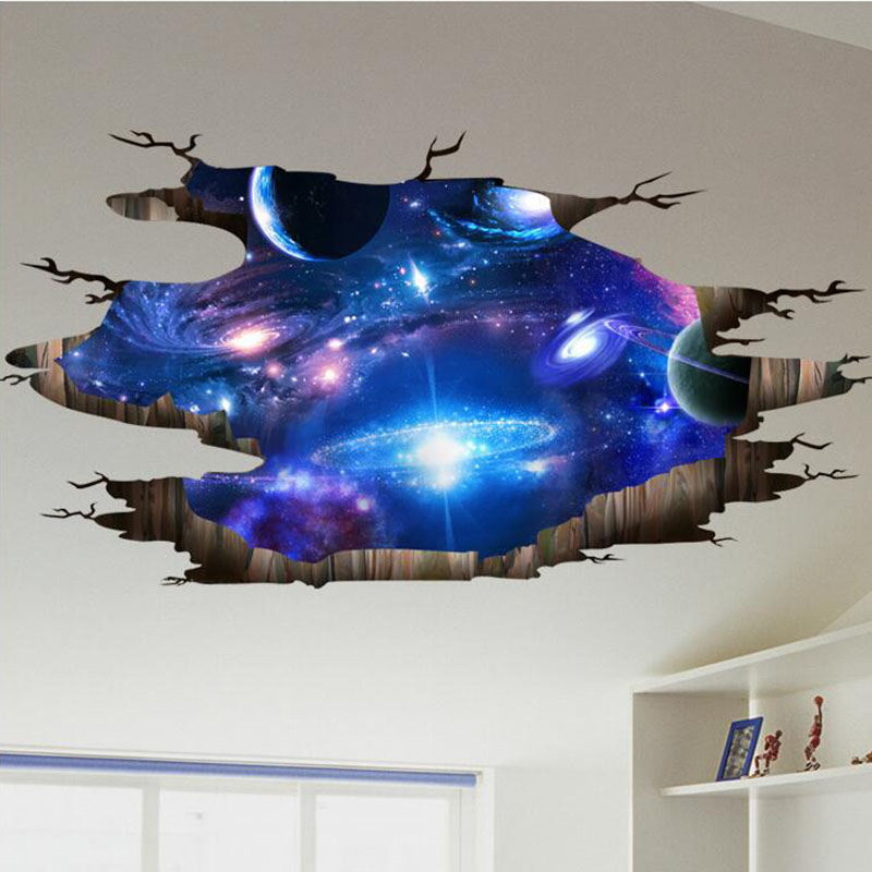New Creative 3D Universe Galaxy Wall Stickers For Ceiling Roof Self adhesive Art Mural Home Decor Waterproof Floor Sticker Decal|galaxy wall sticker|wall stickerstickers for - AliExpress
