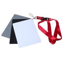 3in1 12.6cm *17.8cm Digital Grey Card White Black 18% Grey Color White Balance + Strap set for Digital Photography