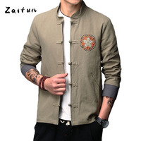 ZAITUN Linen Men Jackets Flower Embroidery Chinese Style Traditional Cotton Slim Fit Casual Autumn Winter Outwear