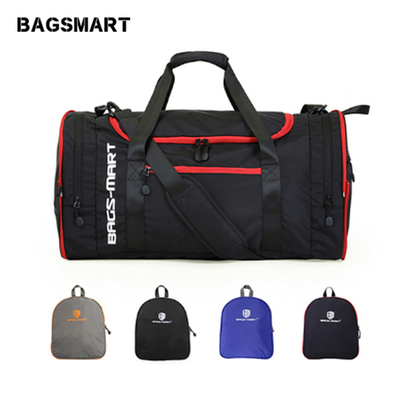 BAGSMART Men Travel Bag Folding Bag Protable Molle Women Tote Waterproof Nylon Casual Travel Duffel Bag Black Luggage Travel Bag