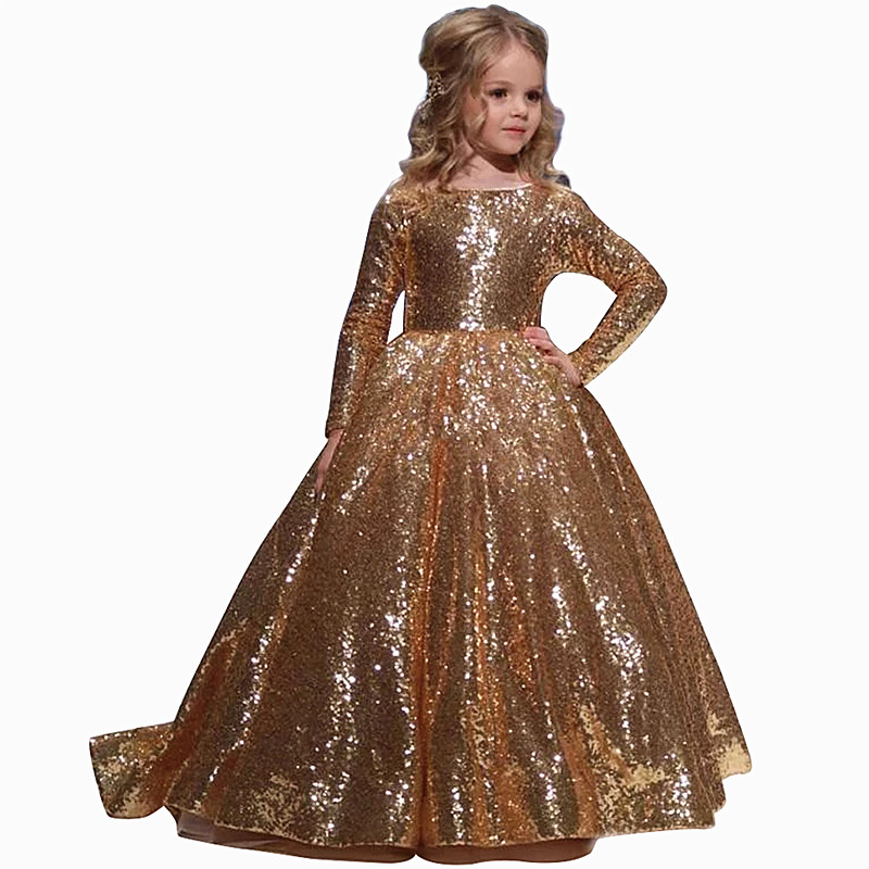 Image 5 - Gold little Girls Dresses Floor Length Ball Gowns For Kids 