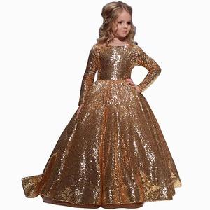 Image 5 - Vestidos dourados para meninas, vestidos elegantes para meninas, de baile, aniversário e festa 12 y