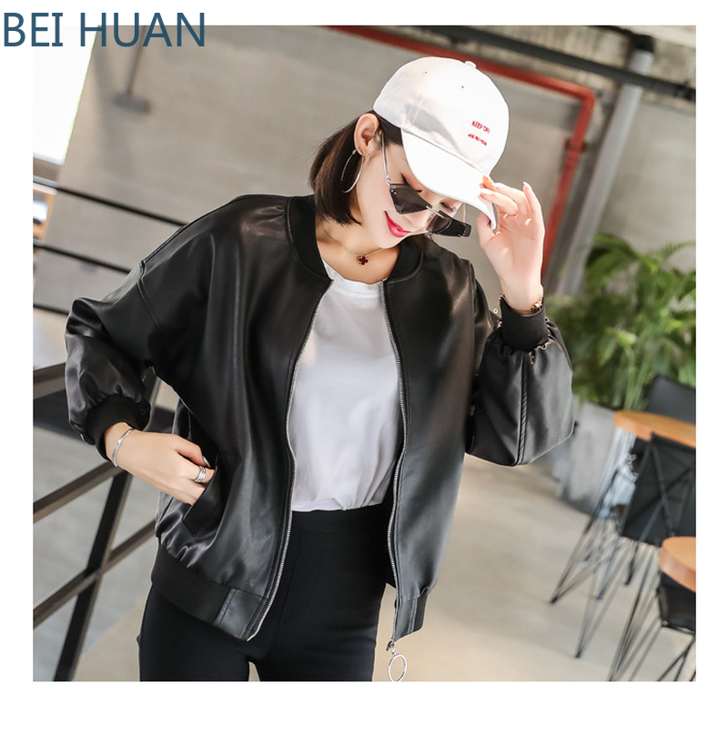 2019 Real Limited Jaqueta Couro   Leather   Jacket Korean Ladies Loose   Leather   Round Neck Slim Coat Original Wind Women Jackets