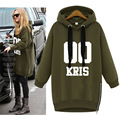 Exo Kpop Army Green Hoodie Dress Hooded Women Harajuku Loose Casual Long Sweatshirt Fleece Poleron Vestido Baekhyun Tao Xiumin