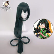 100cm Boku no Hero Academia Tsuyu Asui Cosplay Wig My Women Long Green Synthetic Hair Halloween Party Wigs+Wig Cap