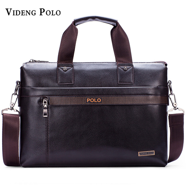 2018 New Luxury Brand Leather Men Handbag Classic Designer POLO Man  Crossbody Shoulder Bag Casual Messenger Bag A4 Briefcase d9a2b7679212c