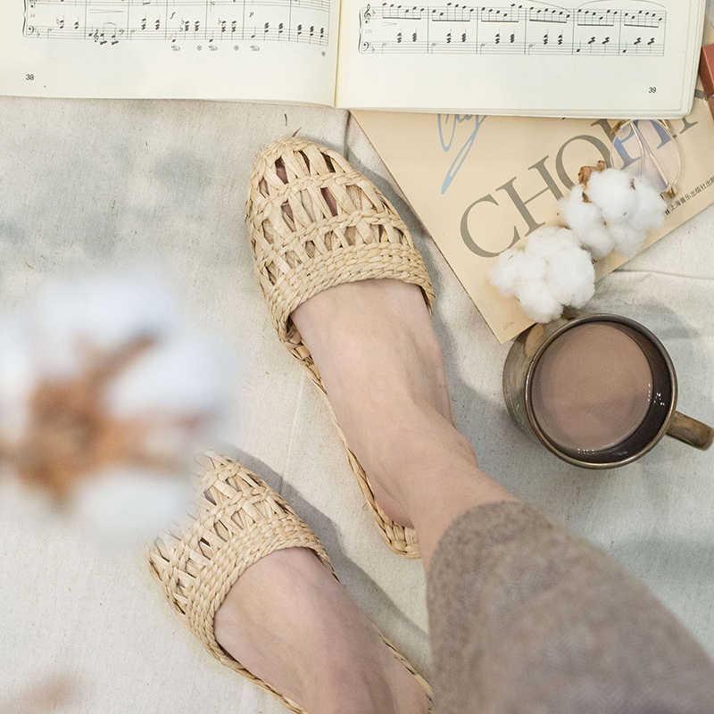 AGESEA yaz moda unisex ev ayakkabı kadın saman terlik yeni çift ayakkabı el yapımı çin tarzı rahat sandalet CX-LK