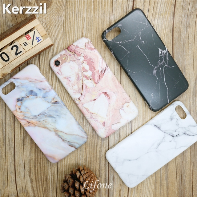 Kerzzil Luxury Marble Stone Cases For iPhone 7 6 6S Plus Painted Soft Silicone Cover Back For iPhone X 6 6S 8 Plus Coque