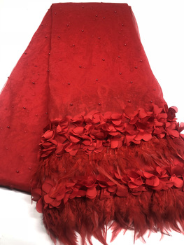 African Lace Fabric 3D Flower High Quality 2018 French Tulle Lace Fabric Appliqued Nigerian Net Lace for Wedding Dress