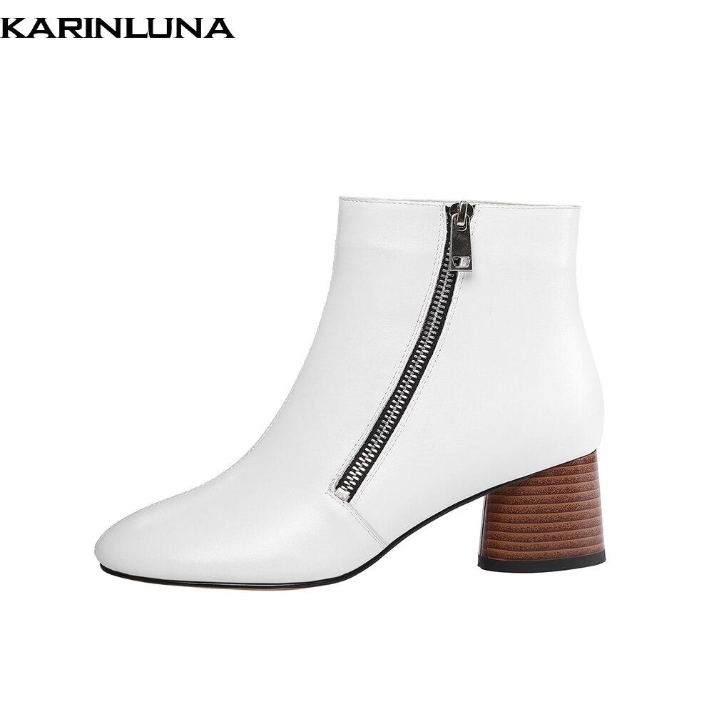6640ab6678ac Hauts Karinluna Zipper Nouveau Chaussures Populaires Femme Cheville En  Vache blanc Conception Noir Cuir Talons 2019 Bottes ...