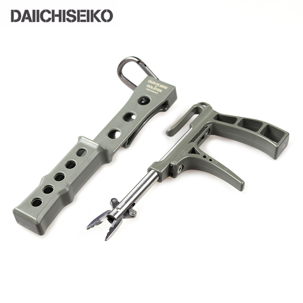 DAIICHISEIKO GUN PLIERS +HOLSTER CARABINER Military Colours Fishing Pliers Alicate De Pesca Fish Lip Gripper Remover Tackle Tool daiichiseiko knot assist 2 0 for fg knot braided line to leader connection fishing accessories ferramentas accesorios de pesca