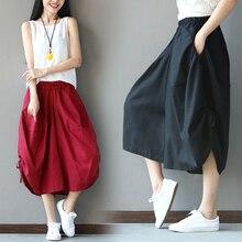 High Quality 100% Linen Shorts Women 2019 Summer Elastic Waist Skorts Loose Red Short Hip Hop Vintage Feminino