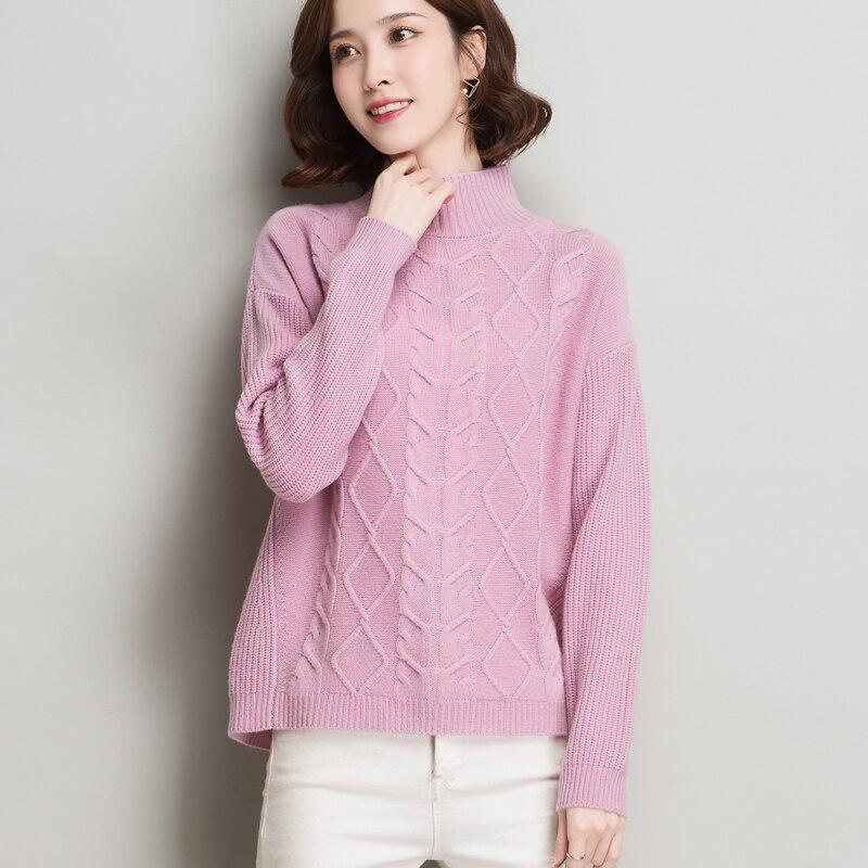 Punto Mujeres La Otoño 100 Patrón Basa Las apricot Sólido blanco rosado Espesar Color Nuevo Invierno Suéter Que De Lana Diamante Jerseys 2xl Azul dYTwxq66