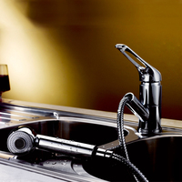 Pull Out Spray Kitchen Faucet Polished Chrome Water Saving Dual Function Spout Sprayer Kitchen Sink Faucets