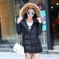 La moda de invierno wadded la capa larga de las mujeres de moda estilo cálido abrigo de gran tamaño M-3xl de las mujeres abrigo de invierno grande de las mujeres chaqueta de la capa caliente