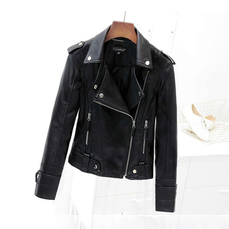 Drop Shipping Faux   Leather   Jackets 2018 New Fashion Women Winter Black Jacket Lady Motorcycle Cool Outerwear Coat Hot Sale Cloth