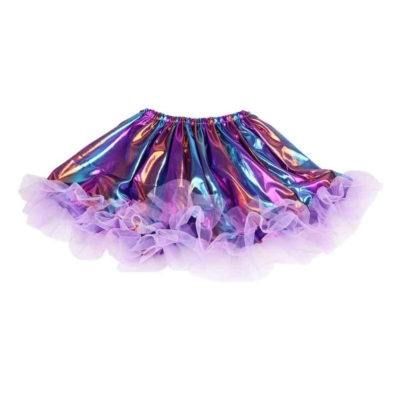 Las niñas Ballet baile Rave holograma Arco Iris rayas falda Tutu falda volantes Trim brillo fiesta de Halloween vestido de 2-9T