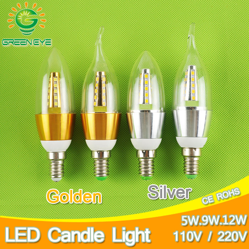 Golden Silver 5w 9w 12w E14 LED Candle Light Aluminum Shell LED Bulb 110V 220V Led Lamp E14 Cool Warm White Lampara 2835 5w smd 2835 e14 lamp tubes led light warm white cold white e 14 led candle 220v led lamp free shipping