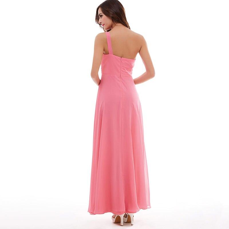 Tanpell blomma en axel klänning fest vattenmelon golv längd - Särskilda tillfällen klänningar - Foto 3