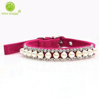 d94e8c1b54f4 Hecho a mano lindo de diamantes de imitación perla Perro Collar gato Collar  collares para Perro
