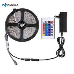 Waseda Led Strip Lights Kit Waterproof DC12V SMD 3528 16.4Ft (5M) 300leds 60leds/m RGB Flexible Tape Light with Power Supply