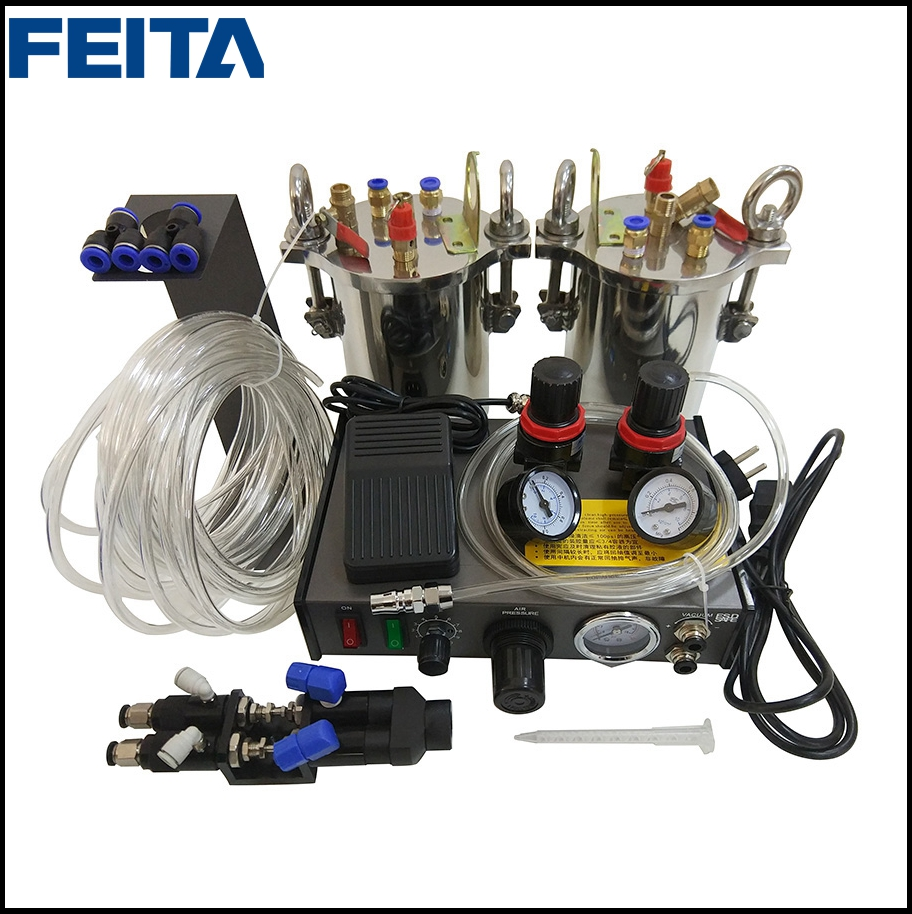 FEITA Semi-auto Glue Dispenser A B Mixing Doming Liquid Glue Dispensing Machine Equipment For Epoxy Resin