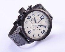 Парнис 50 мм Русский военный Белый Циферблат Черный Количество PVD Дело Смотреть Япония Кварцевый Хронограф Мужчины Наручные Часы