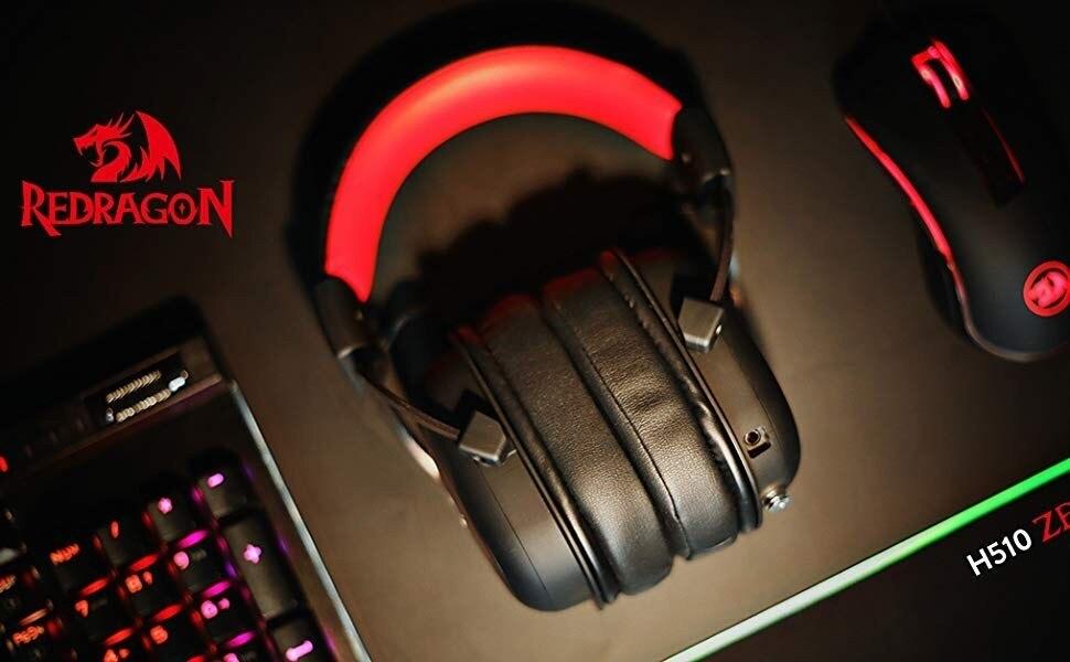 7.1 headset com som surround redragon h510 zeus, fone de ouvido com fio para jogos com microfone destacável para pc, ps4, xbox one, switch|Fones de ouvido| - AliExpress