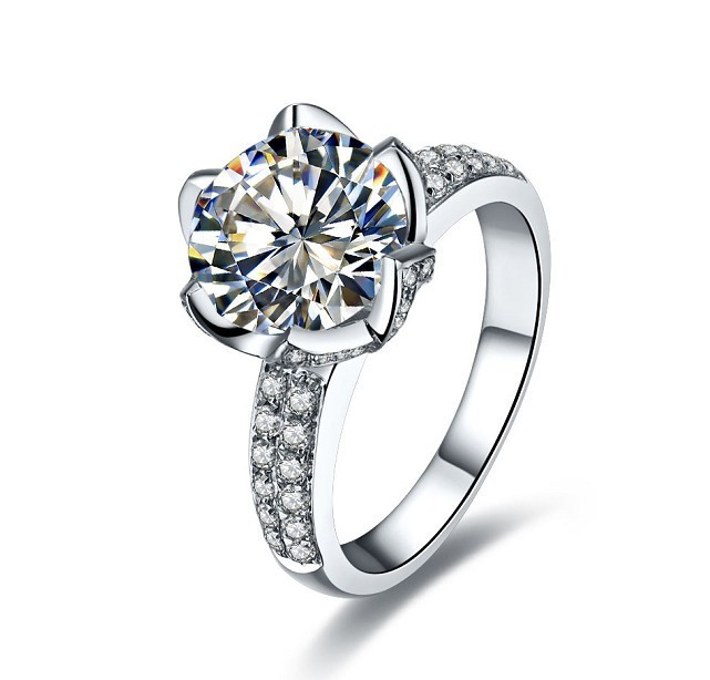 New Design Lotus Flower Women Wedding Diamond Ring Bridal