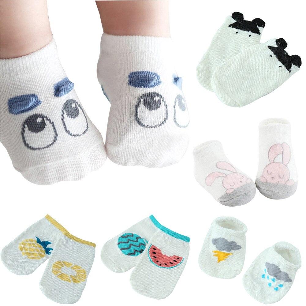 От 0 до 2 лет Детские 1 пара младенческой хлопок милый мультфильм малыш Носки для девочек Обувь для мальчиков для новорожденных малышей Подош...
