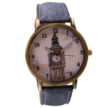 Quartz Watches For Retro Clock Tower Wrist Watch Cowboy Leather Band Analog Ladies Bracelet Watch Relogio