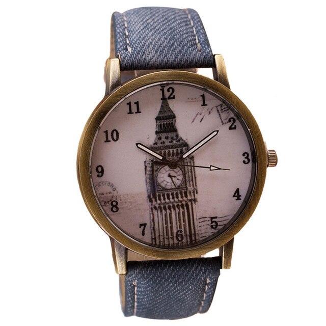 Quartz Watches For Retro Clock Tower Wrist Watch Cowboy Leather Band Analog Ladi