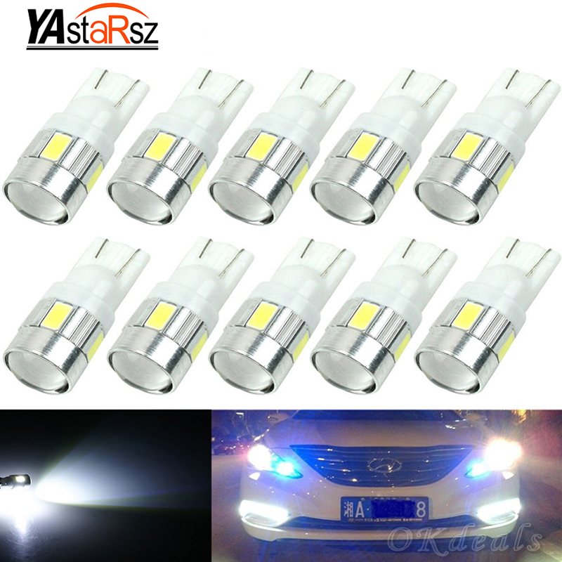 2016 10pcs Super Quality T10 LED 6 SMD 5730 Error Free 194 168 W5W Universal T10 LED Canbus Car led light parking shipping high t10 canbus 10pcs t10 w5w 194 168 5630 10 smd can bus error free 10 led interior led lights white 6000k canbus 300lm