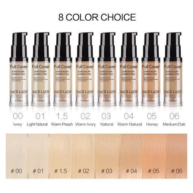 SACE LADY Full Cover 8 Colors Liquid Concealer Makeup 6ml Eye Dark Circles Cream Face Corrector Waterproof Make Up Base Cosmetic 1