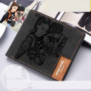 Wallet men\'s short ultra-thin young students simple fashion diy customized photo lettering printing picture wallet gift wallet