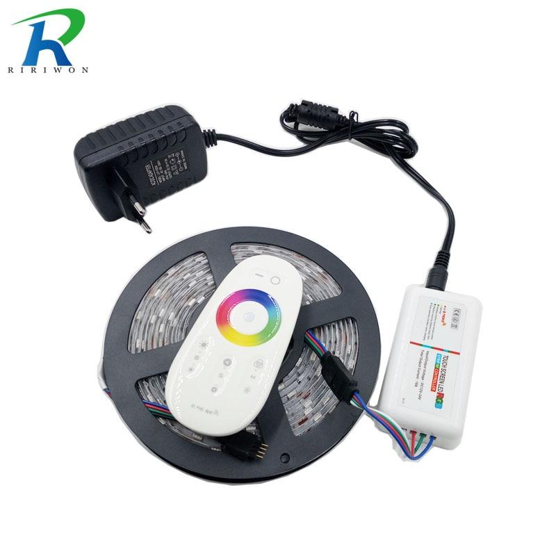 RiRi won SMD RGB led strip light 5050 30LEDs led light led tape diode Flexible waterproof RF milight controller DC 12V Power set