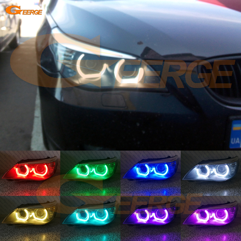 For BMW 5 SERIES E60 E61 LCI 525i 528i 530i 545i 550i M5 Excellent DTM M4 Style Ultra bright Multi-Color RGB LED Angel Eye kit brand new for bmw e61 air suspension spring bag touring wagon 525i 528i 530i 535i 545i 37126765602 37126765603 2003 2010