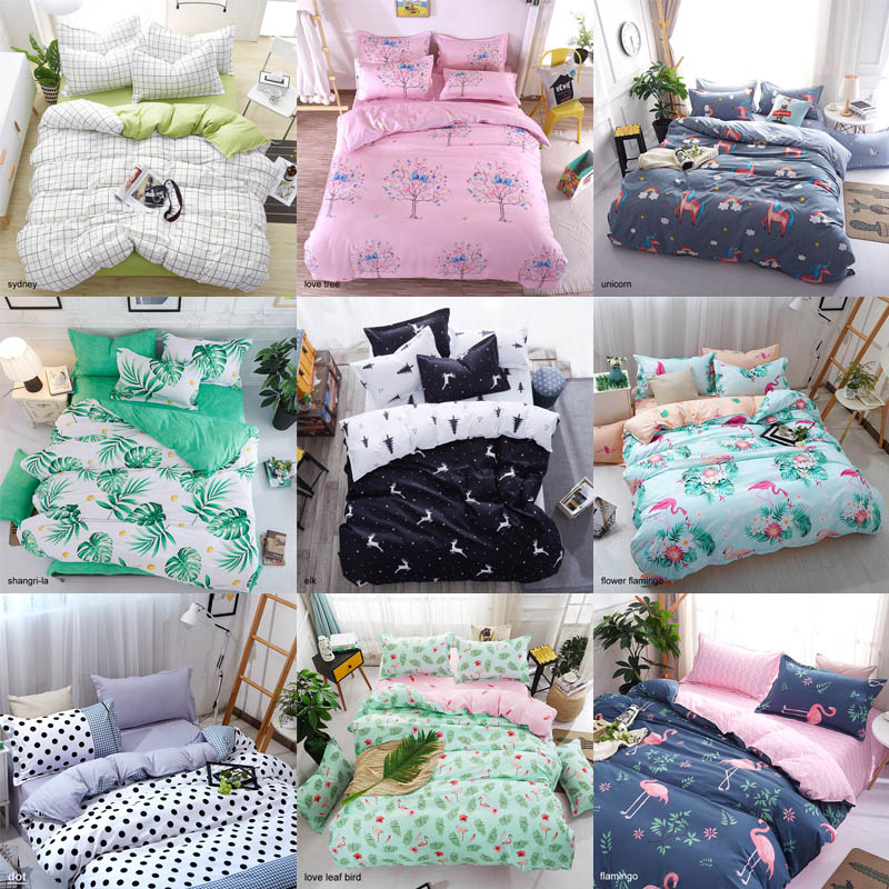 Bedding Sets Geometric Pattern Bed Sheet Children Student Dormitory Bed Linings Cartoon  3/4pcs Pillowcases Cover Set(China)