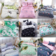 Zestawy pościeli geometryczny wzór prześcieradło dzieci akademik podszewki na łóżko Cartoon 3/4 sztuk poszewki na poduszki pokrywa zestaw