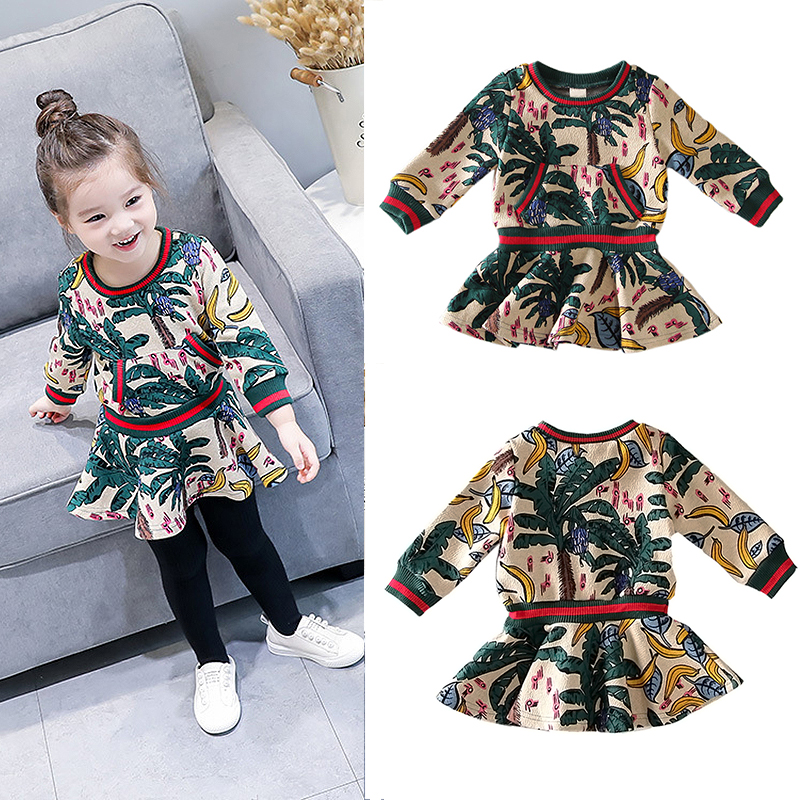 Spring Autumn jungle leafs banana print long sleeve baby girls princess dress kids chiffon children 80-125cm худи print bar jungle