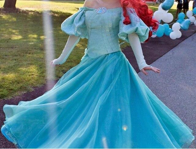 8bf7020083ea932 Новое поступление Одежда высшего качества Русалочка Ариэль карнавальный костюм  принцессы платье для Хэллоуина вечерние костюмы на заказ