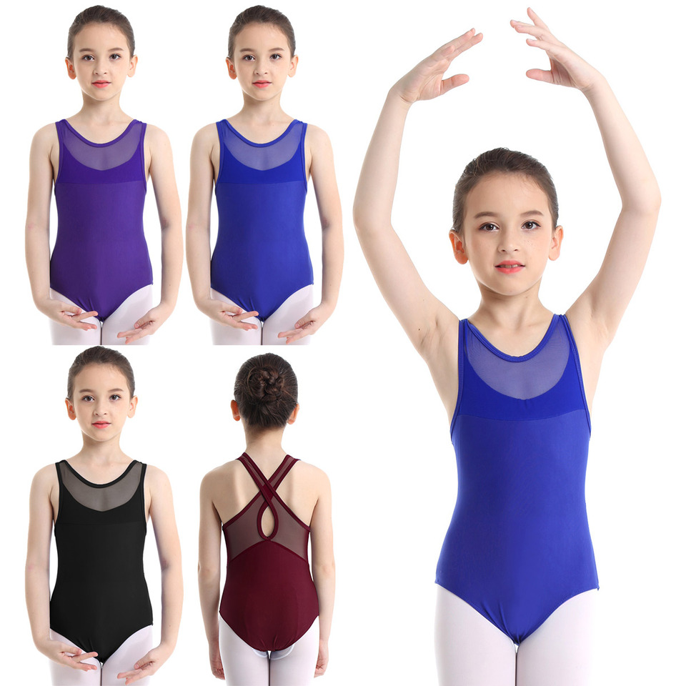 iixpin Kids Girls One-Piece Sleeveless Mesh Splice Cutout Back Leotard for Ballet Dance Gymnastic Workout