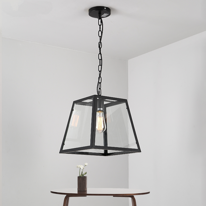 Loft industrial wind retro wrought iron lamp American coffee restaurant bar creative four rectangular glass box