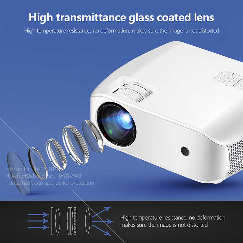 AUN MINI Projector F10UP, 1280*720P, Android 7.1 (2G+16G)  WIFI LED Proyector for 1080P 3D Home Cinema, New HDMI Video Beamer
